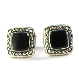 Scott Kay 925 Sterling Silver Fixed Back Small Square Onyx Cufflinks