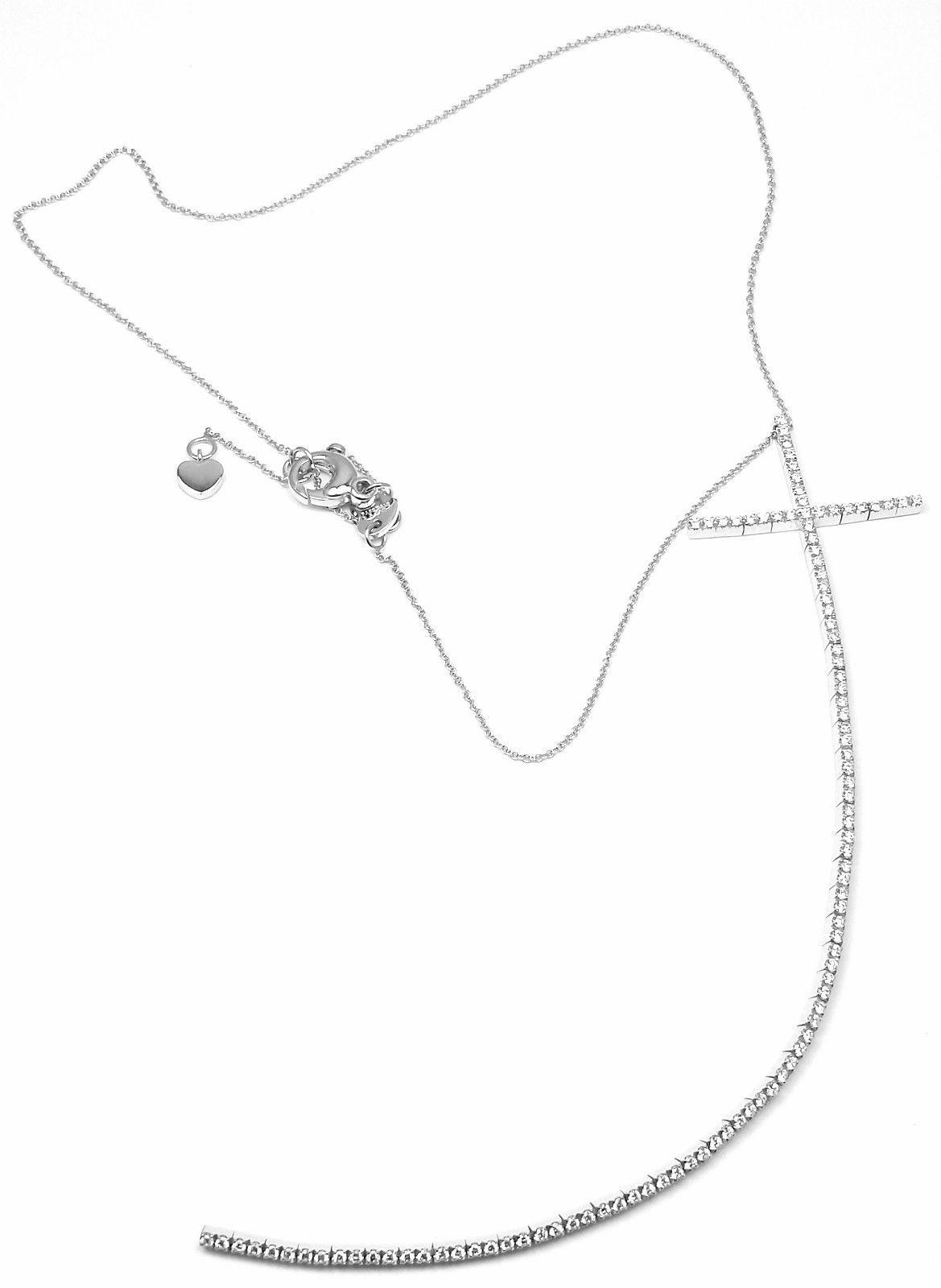 """""Pasquale Bruni 18K White Gold Cross Riviera Pendant Necklace"""""" 263496"