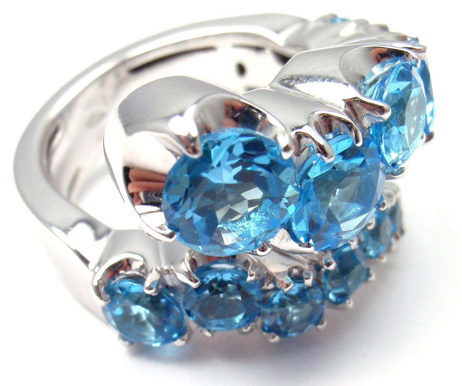 """""Pasquale Bruni Sun Ray 18K White Gold Diamond and Blue Topaz Ring"""""" 273948"