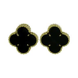 Van Cleef & Arpels Gold Alhambra Black Onyx Earrings