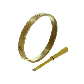 Cartier Love 18K Yellow Gold Bangle Bracelet Size 16