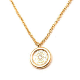 Hermes 18K Yellow Gold Diamond Serie Toggle Chain Pendant Necklace