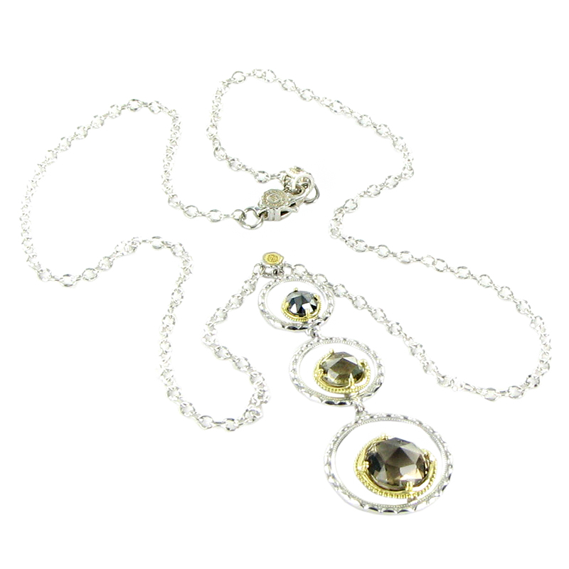 "Image of ""Tacori 18K 925 Sterling Silver Yellow Gold Quartz Hematite Necklace"""