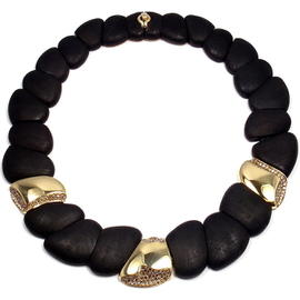 Roberto Coin 18K Yellow Gold Capri Diamond Ebony Wood Necklace