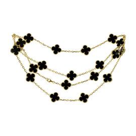 Van Cleef & Arpels 18K Yellow Gold Alhambra Black Onyx 20 Motif Necklace