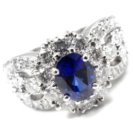 Van Cleef & Arpels Platinum Diamond Sapphire Ring