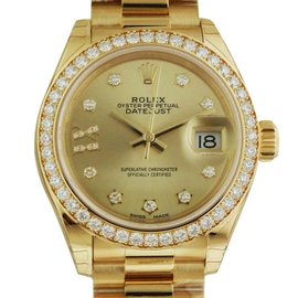 Rolex Datejust 279138 Yellow Gold Champagne Diamond President 28mm Watch