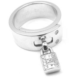 Hermes 18K White Gold Diamond H Lock Band Ring