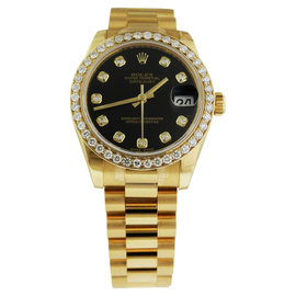 Rolex Datejust Yellow Gold 178278 Black Diamond President 31mm Watch