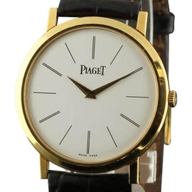 Piaget Altiplano P10175 Large Gold Brown Leather Watch