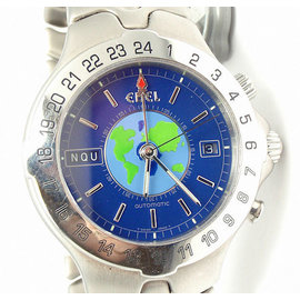 Ebel Stainless Steel Blue Dial Sportwave World Time Unisex Watch