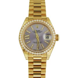 Rolex Datejust Yellow Gold 279138 Lilac Dial Diamond President 28mm Watch