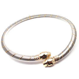 Cartier Panther Panthere 18K Yellow Gold & Stainless Steel Necklace