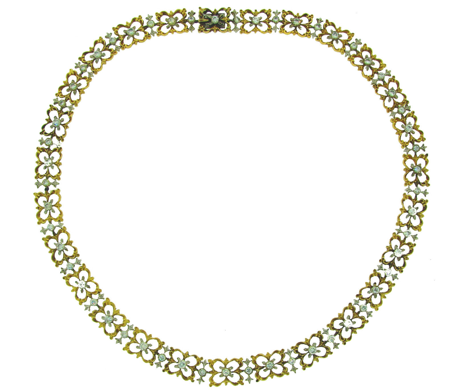 "Image of ""Buccellati 18K Yellow And White Gold Diamond Necklace"""