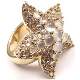 Pomellato Sirene 18K Yellow Gold Moonstone Starfish Ring