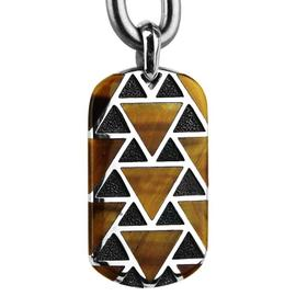 David Yurman Frontier 925 Sterling Silver Tiger Eye Necklace Pendant Dog Tag