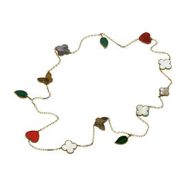 Van Cleef & Arpels 18K Yellow Gold Lucky Alhambra 12 Motif Long Necklace