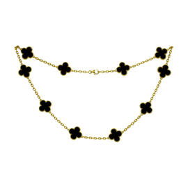 Van Cleef & Arpels Alhambra Onyx Yellow Gold Motif Necklace