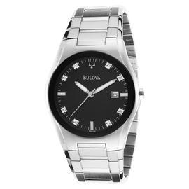 Bulova 96D104 Black Dial 8 Diamonds Stainless Steel Mens Watch
