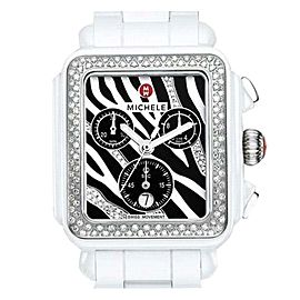 Michele MWW06F000010 Deco Zebra White Ceramic Stainless Steel and Diamonds 33mm Watch