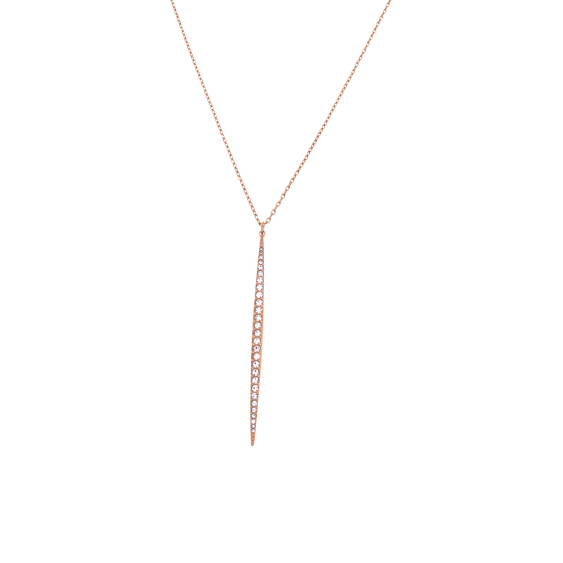"Image of ""Michael Kors Crystal Pave Matchstick Rose Gold Tone Charm Necklace"""