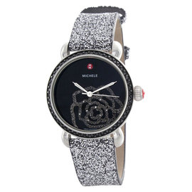 Michele MWW03T000072 Jardin Black Dial Silver Sparkle Strap Watch