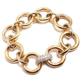 Pomellato 18k Yellow & White Gold and Diamond Large Link Bracelet