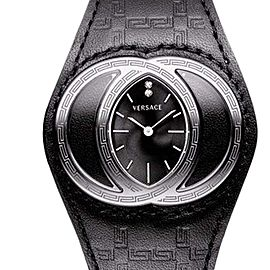 Versace Eclissi 84Q99SD009-S00 Black Gullloche Dial Black Leather Womens Watch