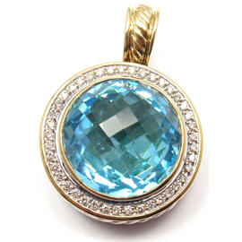 David Yurman Blue Topaz 43 Diamond Sterling Silver 18K Yellow Gold Pendant