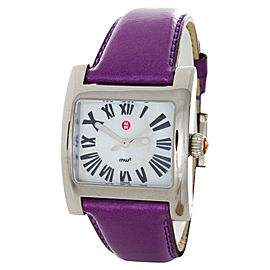Michele MWW07B000033 MOP Dial Watch Purple Leather Strap Quartz Watch