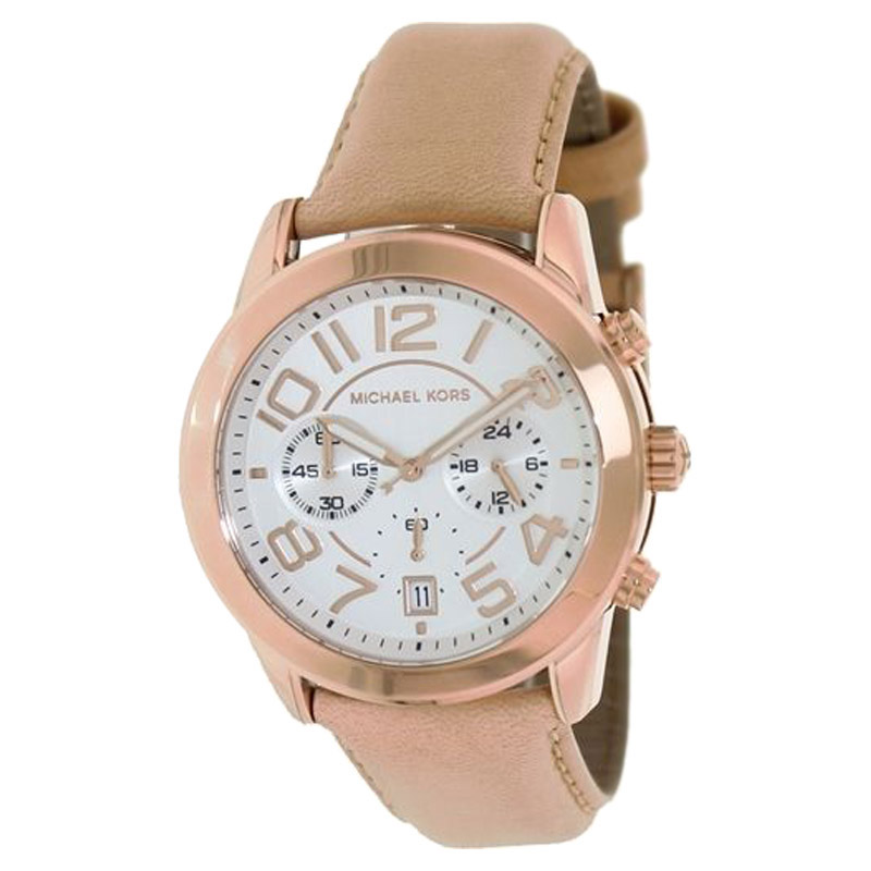 "Image of ""Michael Kors Mk2283 Mercer Chronograph White Dial Rose Gold-Tone Steel"""