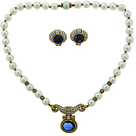 Bulgari Pearl Sapphire Diamond Yellow Gold Necklace Earrings Set