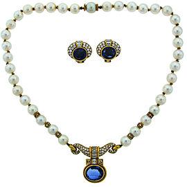 Bulgari Pearl Sapphire Diamond Yellow Gold Necklace Earrings Set