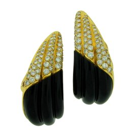 Fred Of Paris 18K Yellow Gold Black Onyx Diamond Earrings