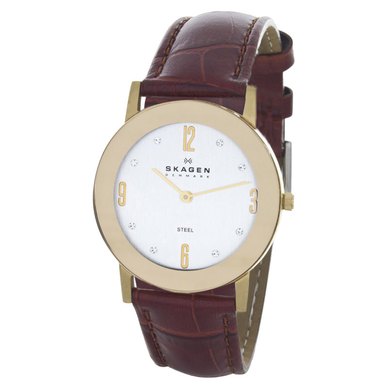 """Image of """"Skagen 39Lgg2 Stainless Steel Gold-Tone Case Brown Leather Watch"""""""