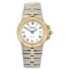 Raymond Weil 9470-TT/WI White Dial Stainless Steel Band Parsifal Womens Watch