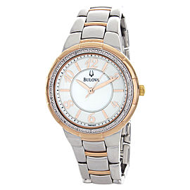 Bulova 98R162 Diamond Mother Of Pearl Dial Two Tone Stainless Steel Bracelet Womens Watch
