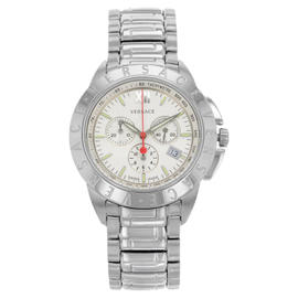 Versace V-Sport 12C99D001 S099 White Dial Stainless Chronograph Mens Watch