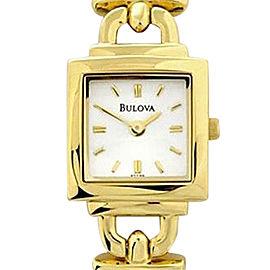 Bulova Mini L127851 Gold Tone Square Silver Dial Womens Watch
