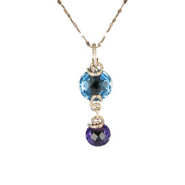 Bellarri 18K Rose Gold Diamonds Blue Topaz and Amethyst Cabaret Necklace