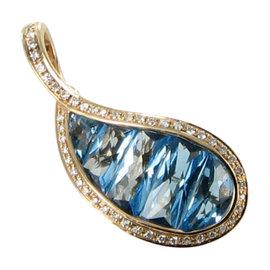 Bellarri 18K Rose Gold Diamond and Blue Topaz Le Petite Enhancer Pendant