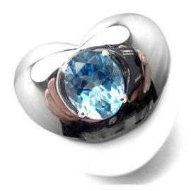Pasquale Bruni 18K White Gold Blue Topaz Heart Large Ring
