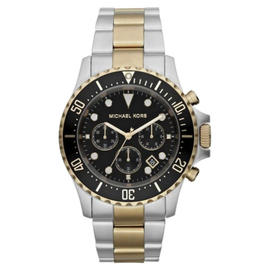 Michael Kors MK-8311 Chronograph Two-Tone Black Dial Stainless Steel Mens Watch
