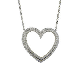Tiffany & Co. Platinum Metro Heart 1.0ct. Diamond Pendant Necklace