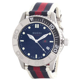 Gucci YA126239 Navy Dial Navy, Red, and White Nylon Bracelet Quartz Mens Watch