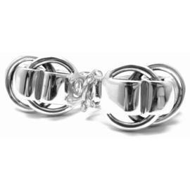 Hermes Sterling Silver Logos Earrings