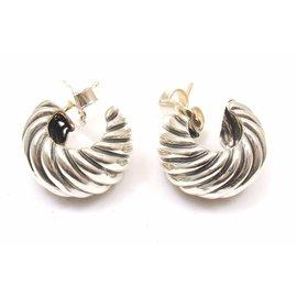 David Yurman Sterling Silver Hoop Shrimp Earrings
