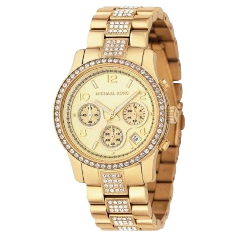 """Image of """"Michael Kors Mk5109 Chronograph Gold-Tone Crystal Stainless Steel"""""""