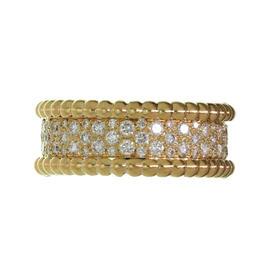 Van Cleef & Arpels 18K Yellow Gold Perlée Diamond Band Ring