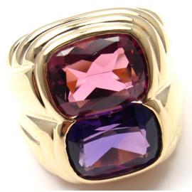 Bulgari 18K Yellow Gold Pink Tourmaline & Amethyst Ring